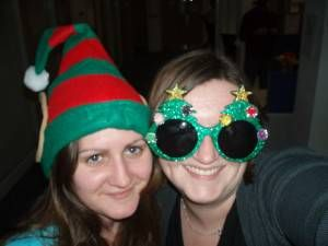 Heather and Amy at the office Christmas party