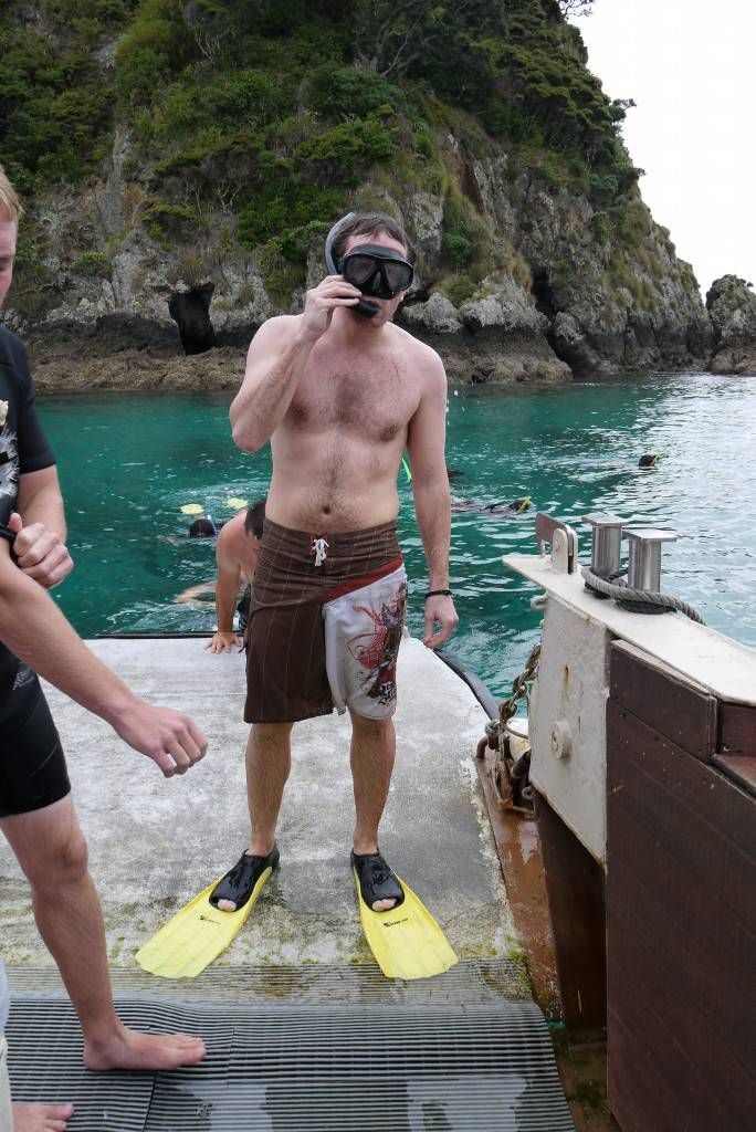 Andrew after his snorkelling search for Kina