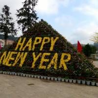 Happy New Year Sign in Sapa, Vietnam