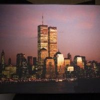 Photo of the Twin Towers in the 9/11 Memorial Museum