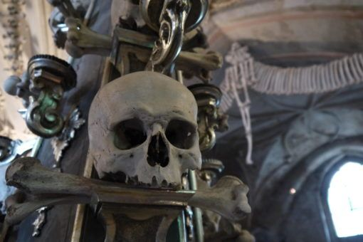 Skull decoration at the Bone Church in Kutna Hora, Czech Republic