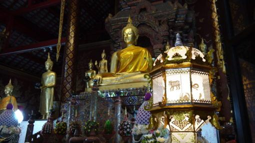 Buddha and lantern in a Thai temple