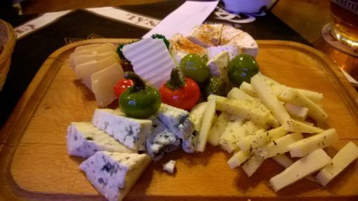 Cheese board from a pub in Prague, Czech Republic