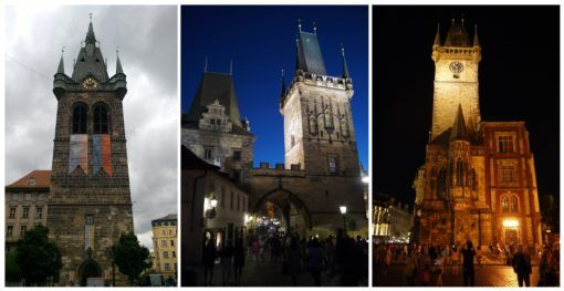 Collage of towers in Prague by night