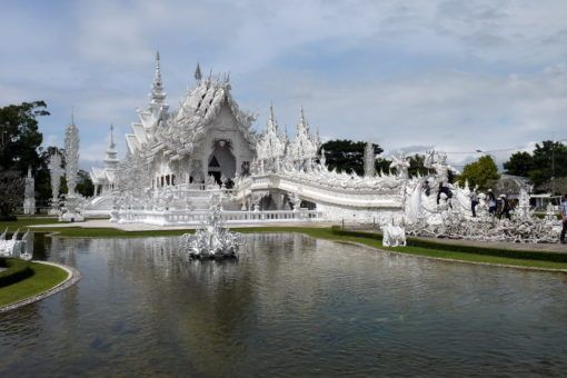The White Temple in Chiang Rai and its lake