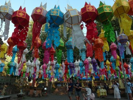 Colourful Lantern displays at Wat Lok Molee temple in Chiang Mai for Yi Peng Festival