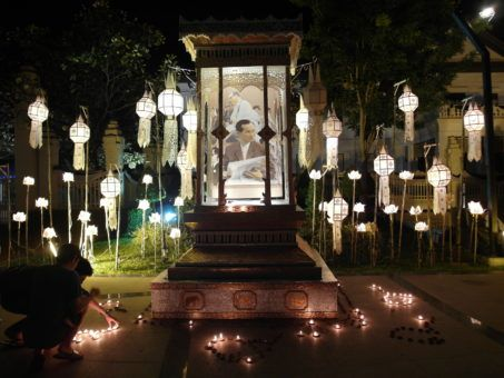 Yi Peng Lantern Display at the Three Kings Monument in Chiang Mai, with Pictures of the king