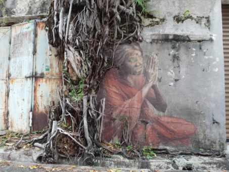 Street Mural in Penang of a Praying Indian Woman