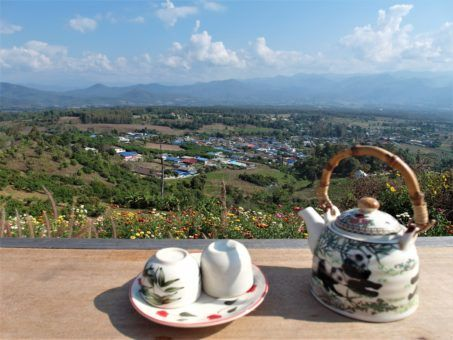 Chinese Tea at the Yun Lai viewpoint in Pai, Thailand