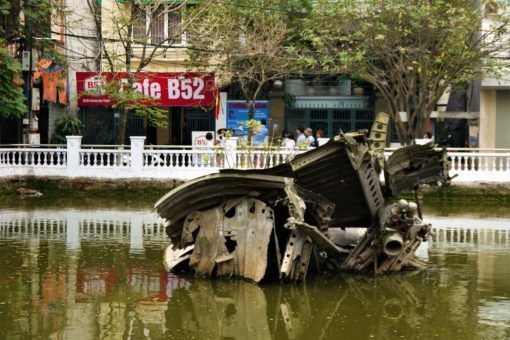 Cafe B52 next to the crash-landed B52 bomber in Hanoi