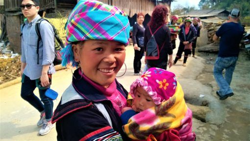 Our trekking guide with her baby in Sapa, Vietnam
