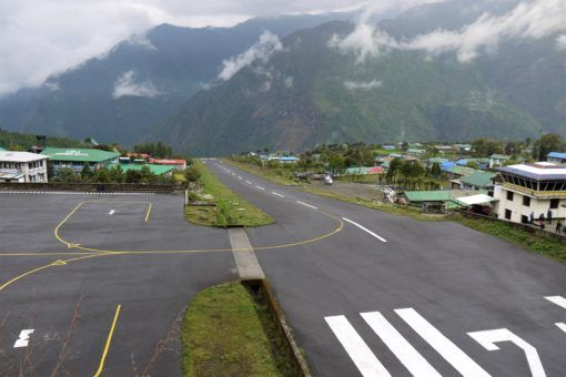 The scarily short runway at Lukla Airport in Nepal