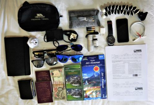 All our documents and electronics for the Everest Base Camp Trek