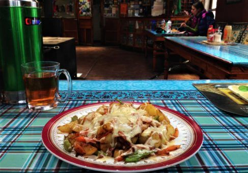 fried potatoes, vegetables and cheese at Snow Lion Lodge, Dingboche