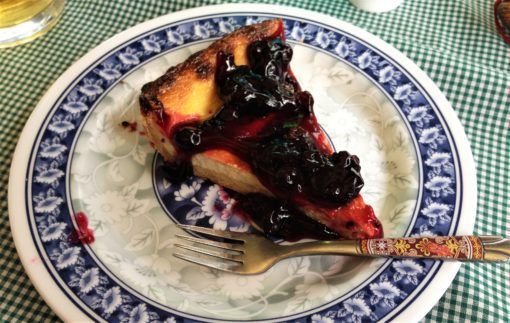 Blueberry cheesecake at the French Bakery, Dingboche, Nepal