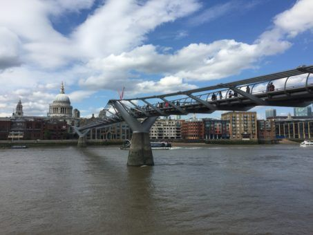 View of St Paul's Cathedral and the Millennium Bridge in London