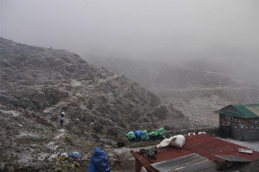 Snow starting to fall in Dughla, Nepal