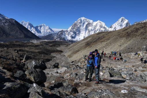 Us feeling much better on the way down from Everest Base Camp