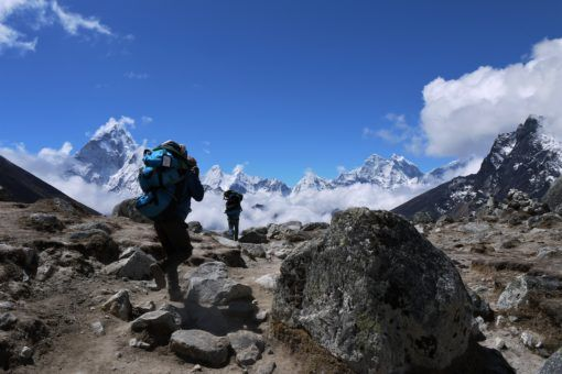Porters on the way back down from Everest Base Camp