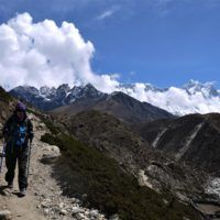 Amy feeling much better on the way down from Everest Base Camp