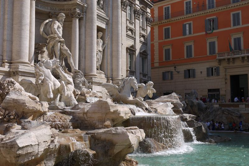 The Fontana di Trevi, or Trevi Fountain, in Rome, Italy