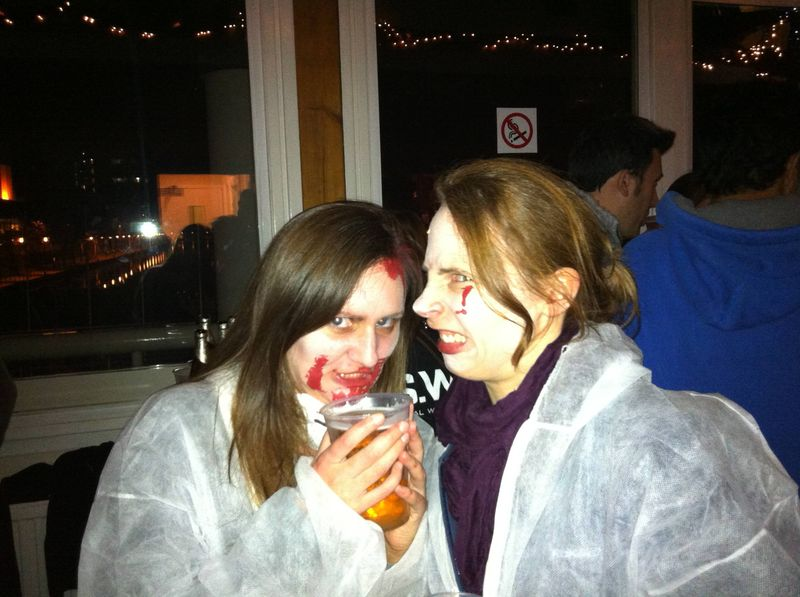 Jo and Amy at the zombie disco