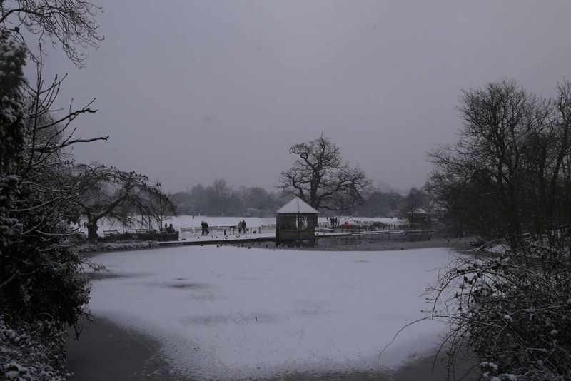 Dulwich Park Lake in the Snow