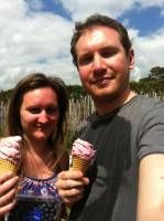 Us Eating Ice Cream From the Blueberry Orchard, New Zealand