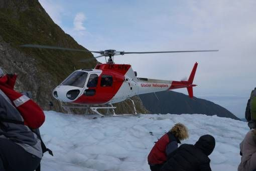 Our Helicopter landing on Fox Glacier, New ZEaland