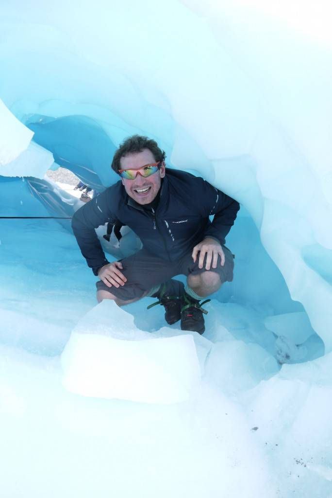 Andrew in an Ice Cave on Fox Glacier