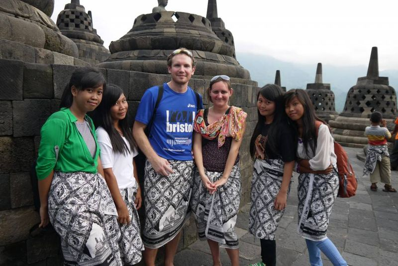 Us and Indonesia Tourists at Borobudur Temple, Indonesia