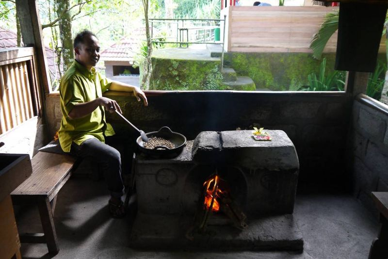 Roasting Coffee Beans at a Plantation in Bali