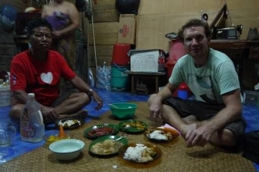 Andrew in the Longhouse, Borneo Malaysia