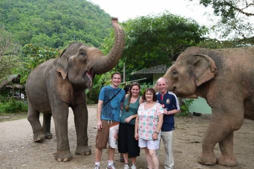 Andrew and I with my Parents at Elephant Nature Park