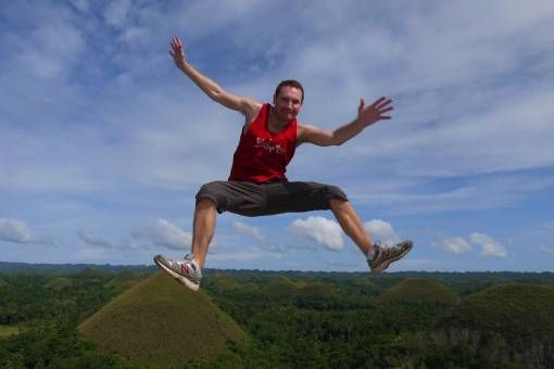 Andrew Jumping at the Chocolate Hills, Bohol