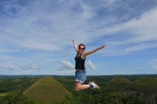 Amy at the Chocolate Hills, Bohol