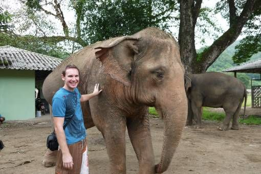 Andrew with an Elephant in Chiang Mai, Thailand