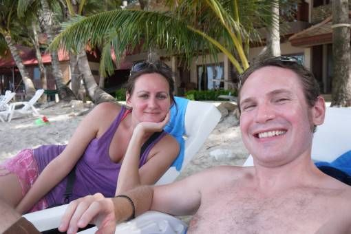 Us relaxing on Bottle Beach in Thailand