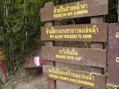 Signs at Erawan Waterfall