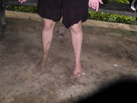 Muddy Leg at Erawan Waterfall