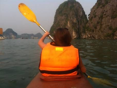 Amy Kayaking on Halong Bay