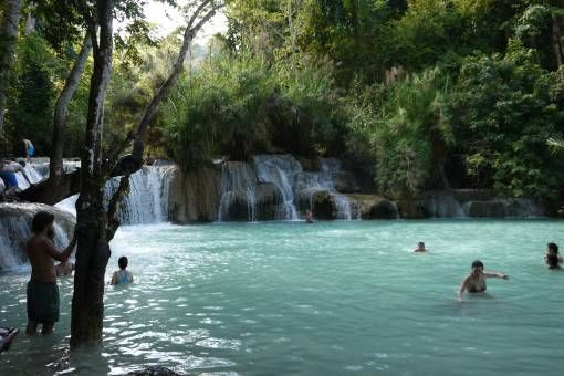 Swimming at Kuang Si Waterfall, Laos