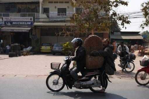 Carrying Baskets on a Motorbike in Asia