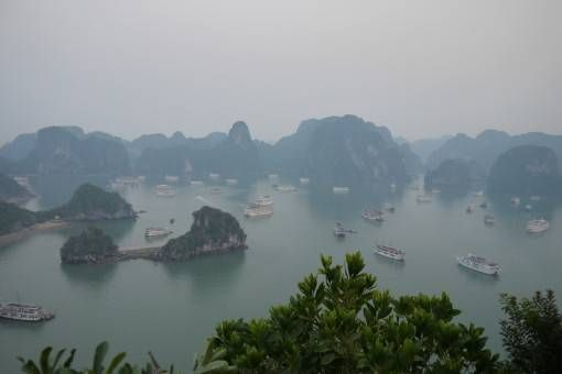 Boats Crowding Halong Bay in Vietnam