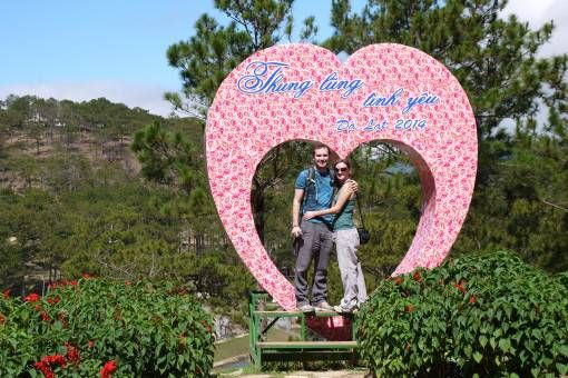 Posing at the Valley of Love in Dalat