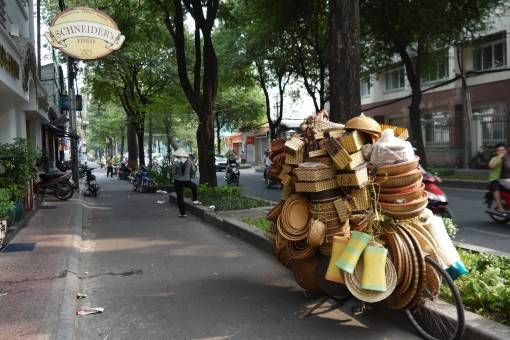 Bicycle Loaded with Baskets in Ho Chi Minh City