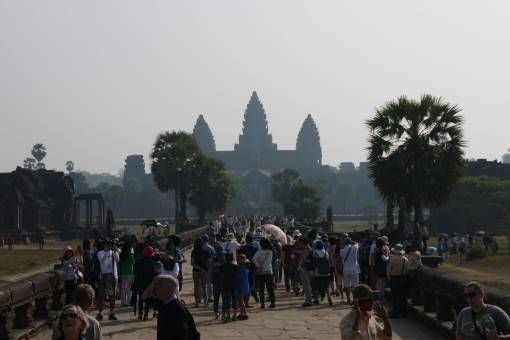 Crowds at Angkor Wat in Cambodia