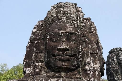 Stone Face at Bayon Temple in Cambodia