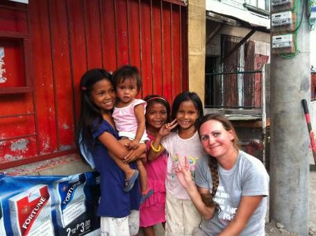Me With Children in Tacloban while volunteering in the Philippines