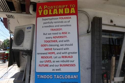 Sign About Typhoon Yolanda in the Philippines